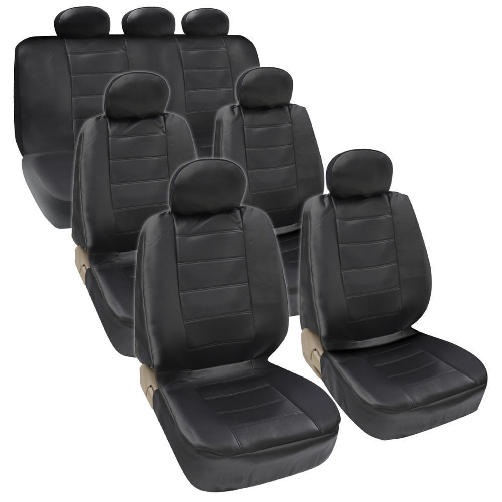 Four Seasons Universal 7 Headrest PU Leather Car Seat Cover 17 Pieces Set Black