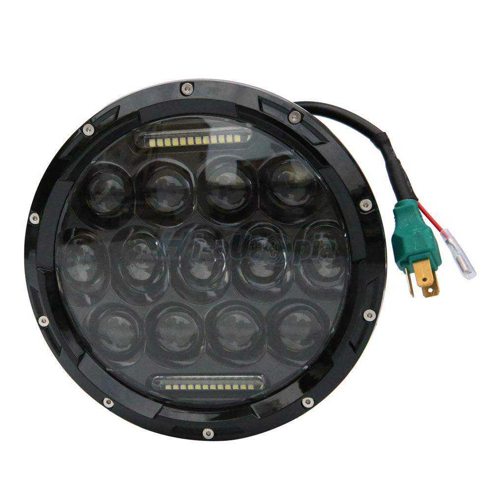 """Pair 7"""" INCH 75W LED Headlight Hi/Lo Beam DRL /2 Wire For"""